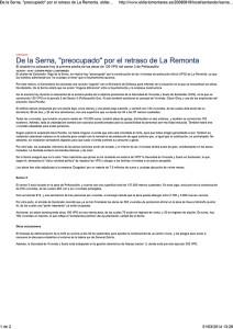 """De la Serna, """"preocupado"""" por el retraso de La Remonta. eldiario"""