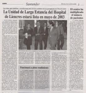 La Unidad Larga estancia Hospital Liencres lista en mayo 2003_Alerta_16102002